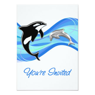 Orca & Dolphin in the Waves You're Invited 5x7 Paper Invitation Card