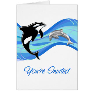 Orca & Dolphin in the Waves You're Invited Card