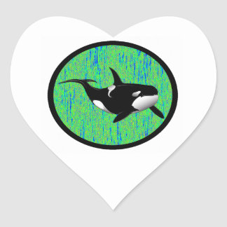 ORCA EMERALD WATER HEART STICKER