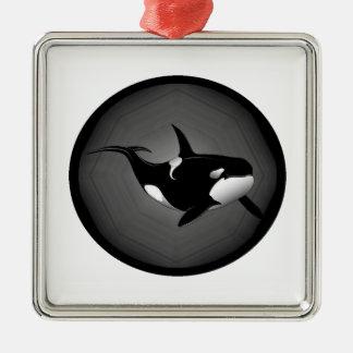 ORCA EN LA NOCHE ADORNO CUADRADO PLATEADO