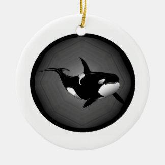 ORCA EN LA NOCHE ADORNO REDONDO DE CERÁMICA