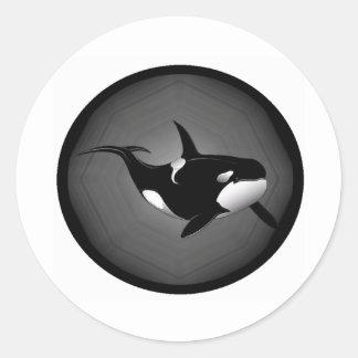 ORCA EN LA NOCHE PEGATINA REDONDA