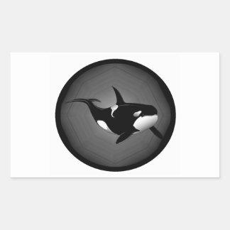 ORCA EN LA NOCHE PEGATINA RECTANGULAR