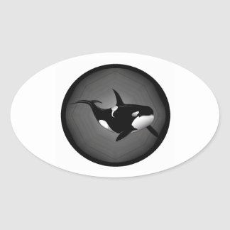 ORCA EN LA NOCHE PEGATINA OVALADA