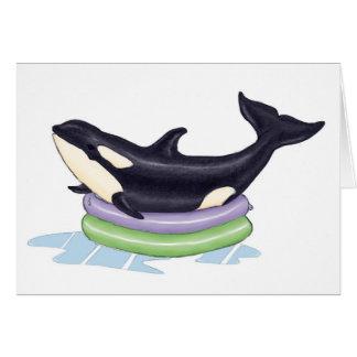 Orca en una piscina de los niños tarjetas