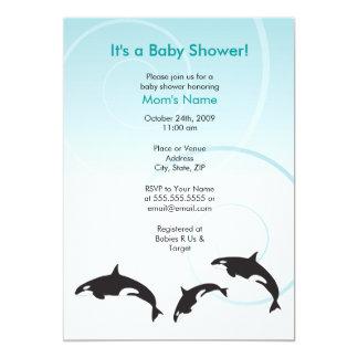 Orca Family Trio Baby Shower Invitation