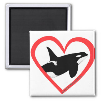 Orca Heart 2 Inch Square Magnet