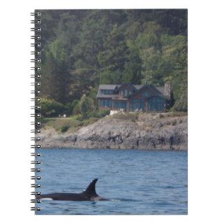 Orca hermosa de la orca en el estado de Washington Note Book