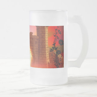 Orca in the sunset frosted glass beer mug