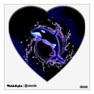 Orca jumping by a circle made of water wall skin