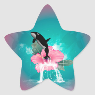 Orca jumping star sticker