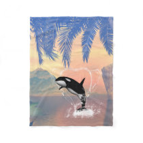 Orca jumping through a heart fleece blanket