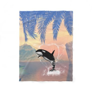 Valentines Themed Orca jumping through a heart fleece blanket