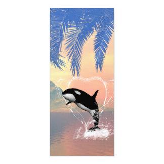 Orca jumping through a heart invites