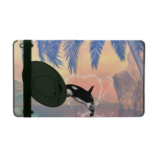 Orca jumping through a heart iPad cases