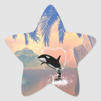 Orca jumping through a heart star stickers