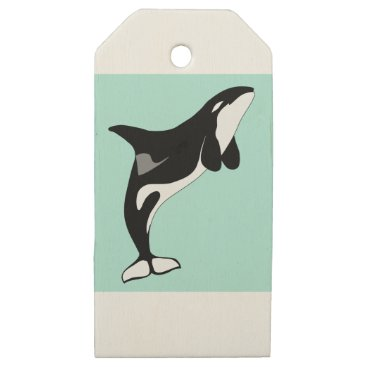 gridly Orca Jumping Wooden Gift Tags