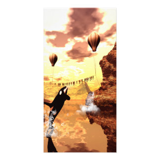 Orca jumps for a fish, a wonderful fantasy world card