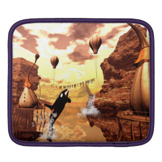 Orca jumps for a fish, a wonderful fantasy world iPad sleeve
