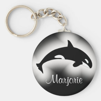 Orca Killer Whale Black and White Name Keychain