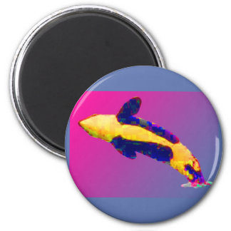 Orca Killer Whale Breaching in Bright Colors 2 Inch Round Magnet