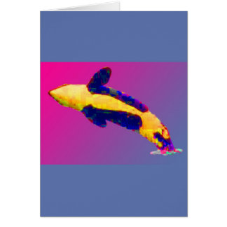 Orca Killer Whale Breaching in Bright Colors Card