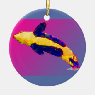 Orca Killer Whale Breaching in Bright Colors Christmas Ornaments