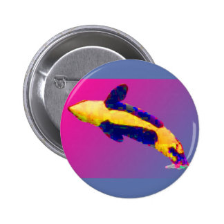 Orca Killer Whale Breaching in Bright Colors Pins