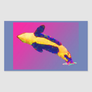 Orca Killer Whale Breaching in Bright Colors Rectangular Sticker