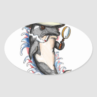 Orca Killer Whale Detective Tattoo Oval Sticker