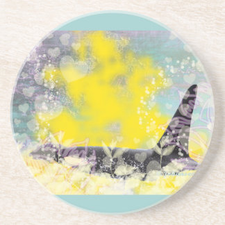 Orca Killer Whale Fantasy with Hearts and Stars Beverage Coasters