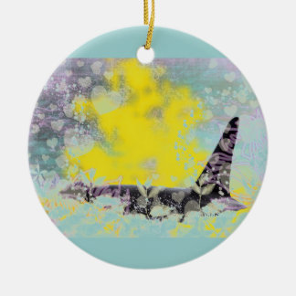 Orca Killer Whale Fantasy with Hearts and Stars Ceramic Ornament