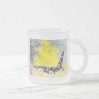 Orca Killer Whale Fantasy with Hearts and Stars Frosted Glass Coffee Mug