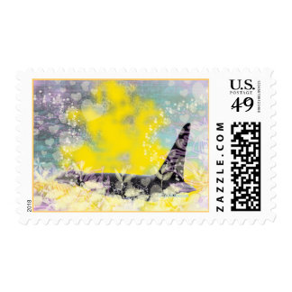 Orca Killer Whale Fantasy with Hearts and Stars Postage
