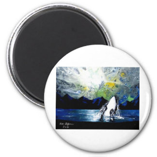 ORCA KILLER WHALE HAVING FUN IN THE SUN 2 INCH ROUND MAGNET