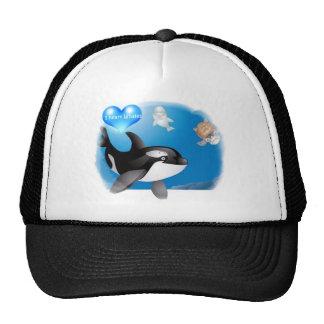 Orca Killer Whale I heart designs Trucker Hats