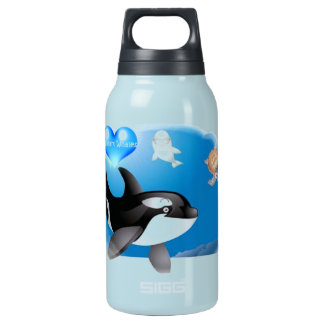 Orca (Killer Whale) I heart designs Insulated Water Bottle