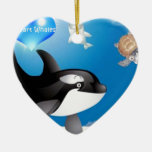 Orca (Killer Whale) I heart designs Christmas Tree Ornaments