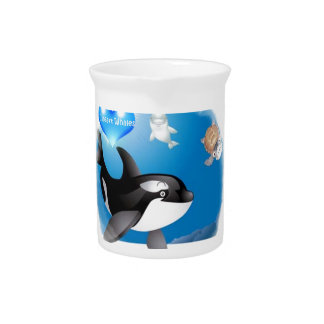 Orca (Killer Whale) I heart designs Beverage Pitchers