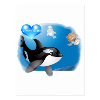 Orca (Killer Whale) I heart designs Postcard