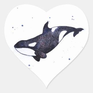 Orca Killer whale illustration Heart Sticker