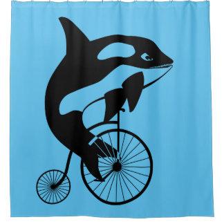 Orca killer whale on vintage bike shower curtain