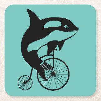 Orca Killer Whale on Vintage Bike Square Paper Coaster