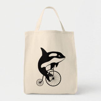 Orca Killer Whale on Vintage Bike Tote Bag