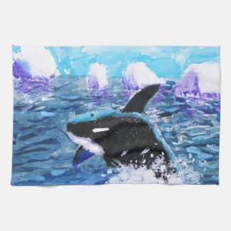 Orca Killer Whale Painting Kitchen Towel