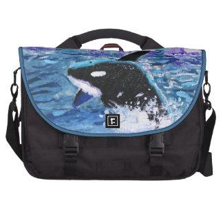 Orca Killer Whale Painting Laptop Messenger Bag