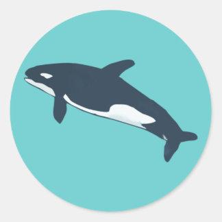 orca killer whale pegatina redonda