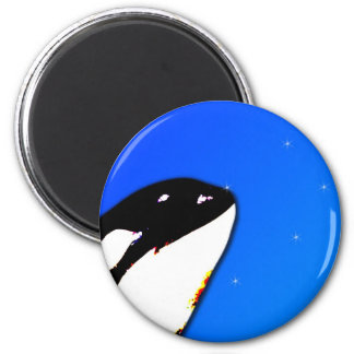 Orca Killer Whale Spy Hops on a Blue Starry Sky 2 Inch Round Magnet