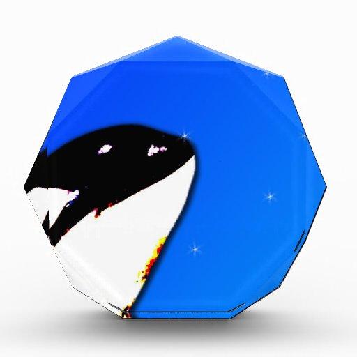 Orca Killer Whale Spy Hops on a Blue Starry Sky Acrylic Award
