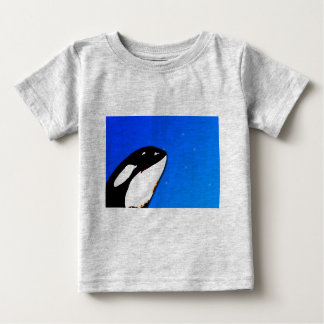 Orca Killer Whale Spy Hops on a Blue Starry Sky Baby T-Shirt